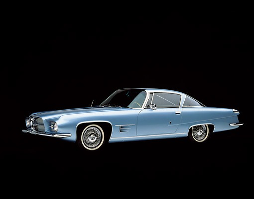 AUT 22 RK0252 03 © Kimball Stock 1962 Dual Ghia Coupe Light Blue 3/4 Side View 3/4 Side View Studio