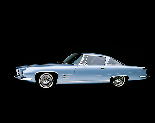 AUT 22 RK0253 07 © Kimball Stock 1962 Dual Ghia Coupe Light Blue 3/4 Side View Studio
