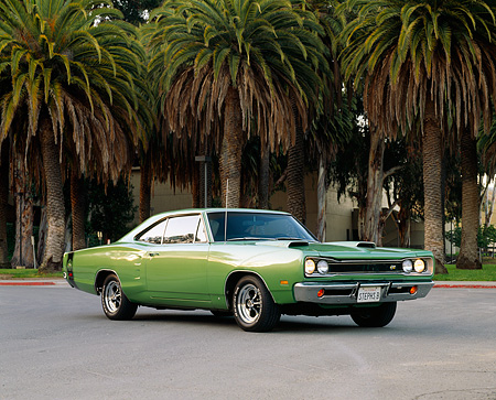 AUT 22 RK0441 01 © Kimball Stock 1969 Dodge Super Bee Green Front 3/4 View On Pavement By Palm Trees