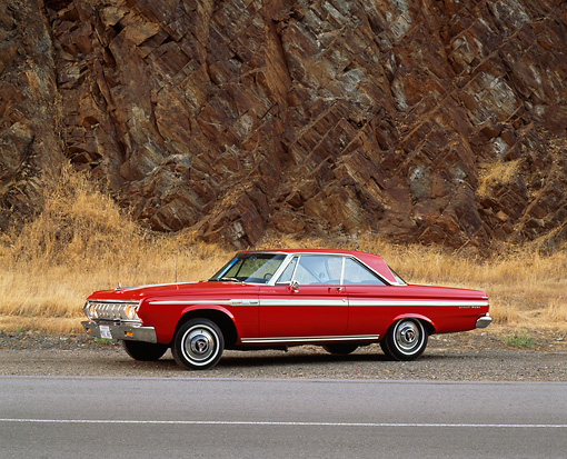 AUT 22 RK0458 02 © Kimball Stock 1964 Plymouth Fury Sport 426 Max Wedge Red 3/4 Front View On Pavement