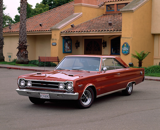 AUT 22 RK0494 02 © Kimball Stock 1967 Plymouth GTX 426 Hemi Turbine Brown 3/4 Front View On Pavement
