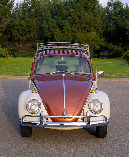 AUT 22 RK1004 01 © Kimball Stock 1965 VW Beetle Steel Sunroof Copper And White Head On Shot On Pavement By Grass And Trees