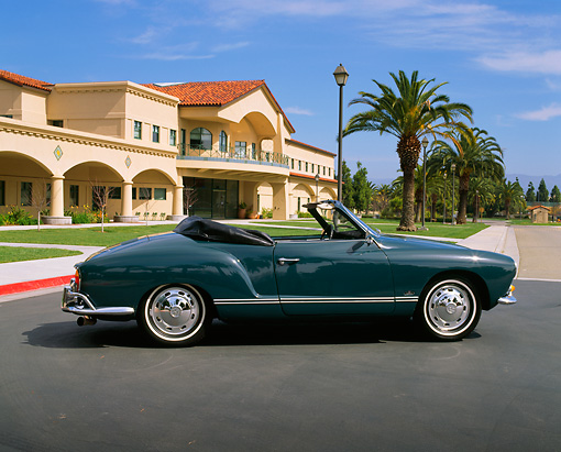 AUT 22 RK1026 02 © Kimball Stock 1966 VW Karmann Ghia Convertible Turquoise Profile On Pavement
