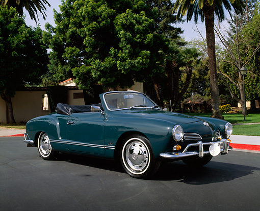 AUT 22 RK1028 03 © Kimball Stock 1966 VW Karmann Ghia Convertible Turquoise 3/4 Side View On Pavement