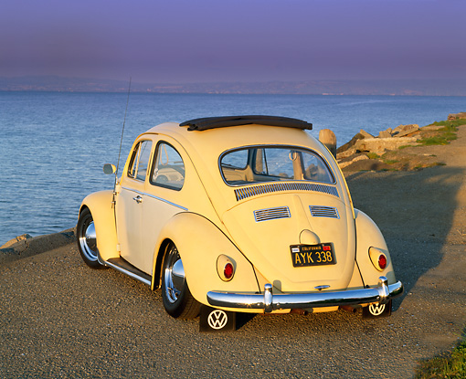 AUT 22 RK1057 01 © Kimball Stock 1960 VW Beetle With Sunroof Yellow 3/4 Rear View On Pavement