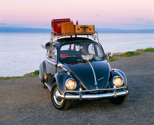 AUT 22 RK1060 13 © Kimball Stock 1960 VW Beetle Black With Roof Rack 3/4 Front View On Pavement By Water Filtered