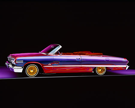 AUT 22 RK1082 03 © Kimball Stock 1963 Chevy Impala Lowrider Convertible 3/4 Front View Studio