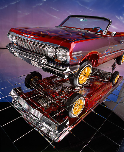 AUT 22 RK1088 06 © Kimball Stock 1963 Chevy Impala Lowrider Convertible 3/4 Front View With Detail Under Car Glass Floor
