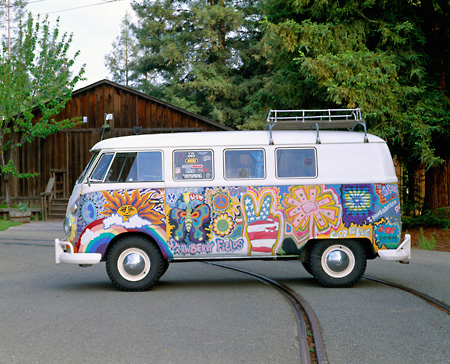 AUT 22 RK1090 04 © Kimball Stock 1965 VW Kombi Hippie Bus Profile Shot On Pavement By Trees
