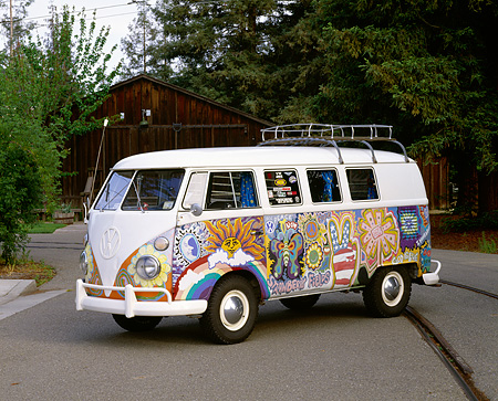 AUT 22 RK1091 01 © Kimball Stock 1965 VW Kombi Hippie Bus 3/4 Side View On Pavement By Trees