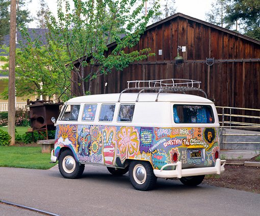 AUT 22 RK1092 06 © Kimball Stock 1965 Volkswagen Kombi Hippie Bus 3/4 Rear View On Pavement By Barn