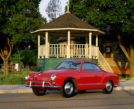AUT 22 RK1107 04 © Kimball Stock 1965 VW Karmann Ghia Red 3/4 Front View On Pavement By Gazeboo