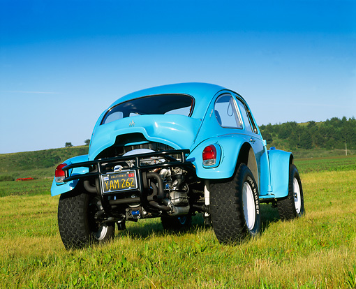AUT 22 RK1115 01 © Kimball Stock 1969 VW Baja Blue 3/4 Rear View On Grass
