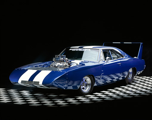 AUT 22 RK1193 01 © Kimball Stock 1969 Dodge Daytona Charger Pro Street Blue And White Stripe Front 3/4 View On Checkered Floor Studio