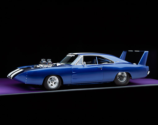 AUT 22 RK1195 01 © Kimball Stock 1969 Dodge Daytona Charger Pro Street Blue White Stripe 3/4 Side View On Purple Floor Gray Line Studio
