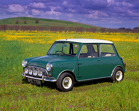 AUT 22 RK1289 03 © Kimball Stock 1964 Austin Mini Cooper Green White Top 3/4 Side View On Grass Field