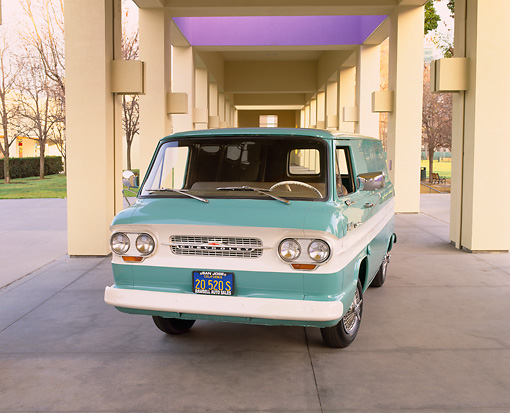 AUT 22 RK1324 01 © Kimball Stock 1964 Chevrolet Corvair 95 Panel Van Green White Stripe Front 3/4 View On Pavement