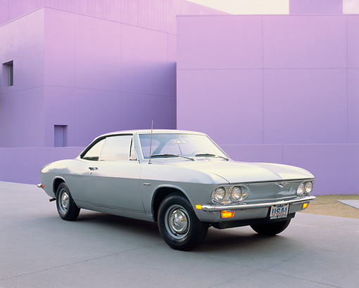 AUT 22 RK1354 02 © Kimball Stock 1969 Chevrolet Corvair 500 Sport Coupe Silver 3/4 Front View By Purple Building