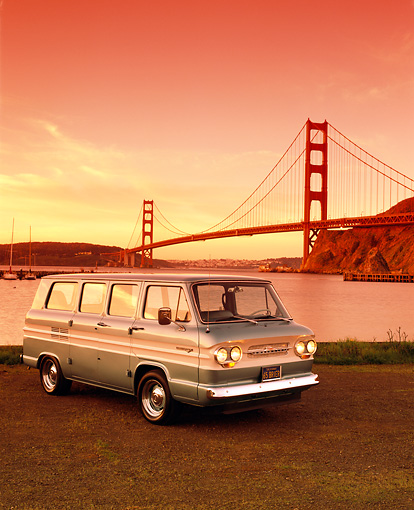 AUT 22 RK1362 01 © Kimball Stock 1965 Chevrolet Corvair Greenbrier Van Teal White Stripe 3/4 Front By SF Bridge Filtered