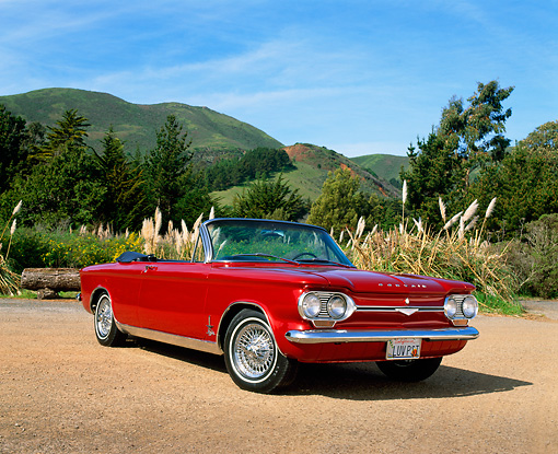AUT 22 RK1366 05 © Kimball Stock 1964 Chevrolet Corvair Monza Spyder Red 3/4 Front View On Pavement