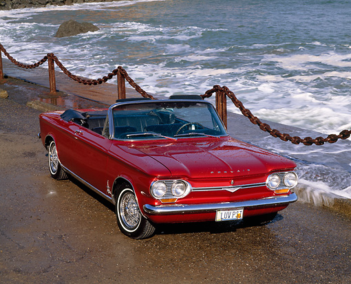 AUT 22 RK1369 03 © Kimball Stock 1964 Chevrolet Corvair Monza Spyder Convertible Red 3/4 Front On Pavement