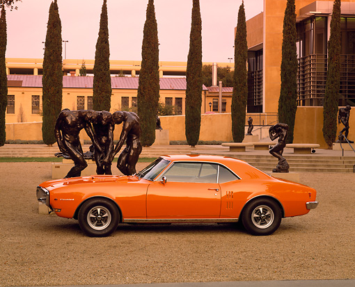 AUT 22 RK1410 01 © Kimball Stock 1968 Pontiac Firebird Orange Profile By Sculpture