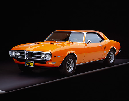 AUT 22 RK1414 06 © Kimball Stock 1968 Pontiac Firebird Orange 3/4 Front View On Gray Line Studio