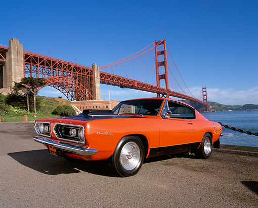 AUT 22 RK1448 01 © Kimball Stock 1967 Plymouth Barracuda Hemi Orange And Black 3/4 Front View On Pavement By Golden Gate Bridge