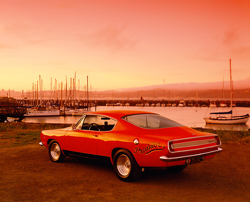 AUT 22 RK1453 03 © Kimball Stock 1967 Plymouth Barracuda Hemi Orange 3/4 Rear View By Marina Red Filter