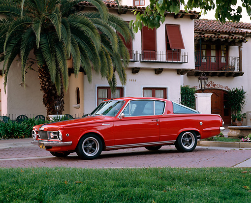 AUT 22 RK1458 01 © Kimball Stock 1965 Plymouth Barracuda Formula S Red 3/4 Side View By Building