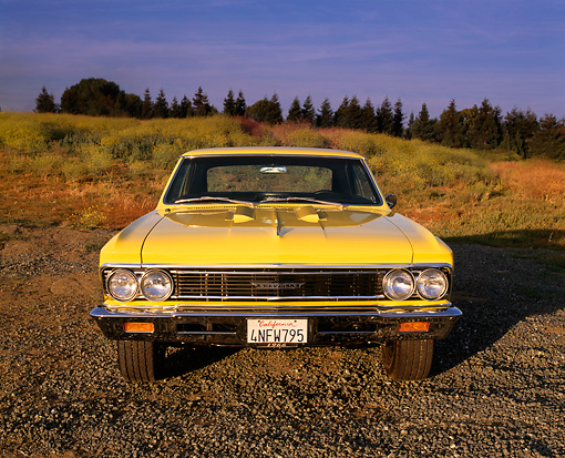 AUT 22 RK1524 02 © Kimball Stock 1966 Chevrolet Chevelle SS Modified Yellow Head On Shot On Gravel By Field Of Flowers