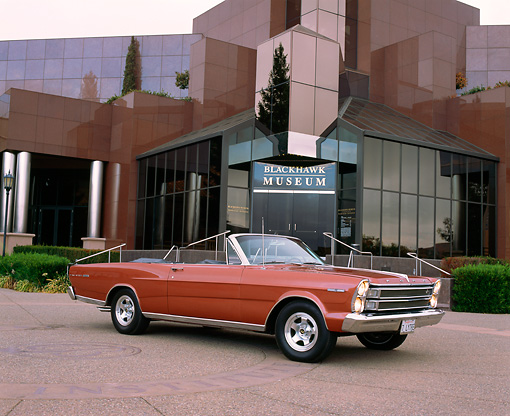 AUT 22 RK1576 02 © Kimball Stock 1966 Ford Galaxie 500 Convertible Emberglo 3/4 Front View On Pavement By Museum