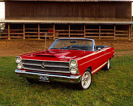 AUT 22 RK1701 01 © Kimball Stock 1966 Ford Fairlane GTA Convertible Red