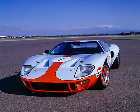 AUT 22 RK1712 02 © Kimball Stock 1968 Ford GT40 Light Blue And Orange