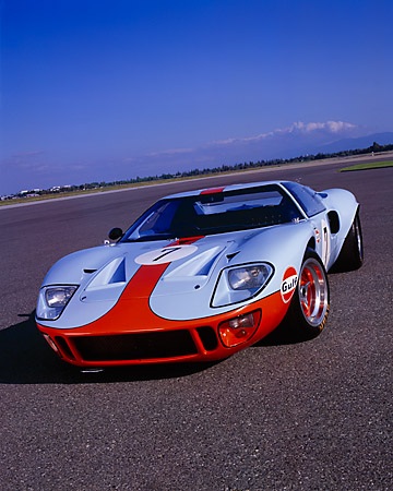 AUT 22 RK1712 04 © Kimball Stock 1968 Ford GT40 Light Blue And Orange