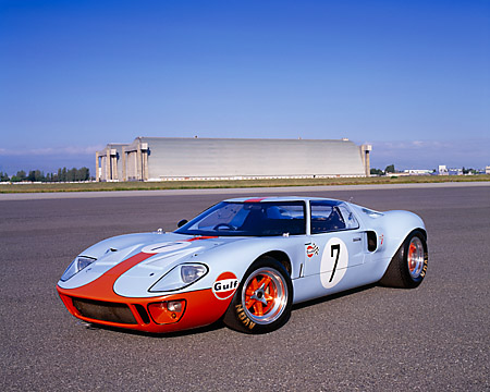 AUT 22 RK1714 10 © Kimball Stock 1968 Ford GT40 Light Blue And Orange