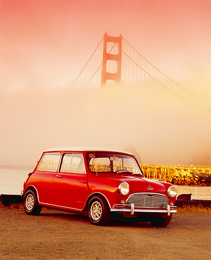 AUT 22 RK1738 01 © Kimball Stock 1967 Austin Mini Cooper S Red And White 3/4 Front View On Dirt By Golden Gate Bridge Fog Filtered
