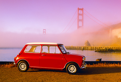 AUT 22 RK1742 09 © Kimball Stock 1967 Austin Mini Cooper S Red And White 3/4 Front View By Golden Gate Bridge In Fog Filtered