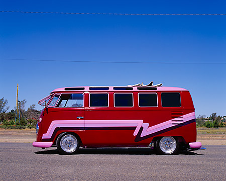 AUT 22 RK1766 01 © Kimball Stock 1967 Volkswagen Custom 21 Window Microbus Maroon With Graphics