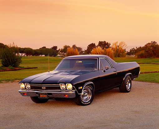 AUT 22 RK1866 02 © Kimball Stock 1968 Chevrolet El Camino SS 396 Black 3/4 Front View On Pavement By Grass Filtered