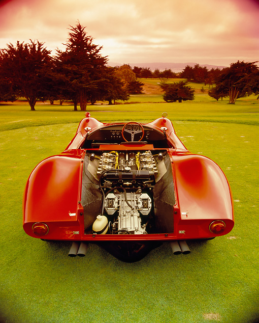 AUT 22 RK1990 01 © Kimball Stock 1967 Bizzarrini P538 Can-Am Le Mans Sport Racer Red Rear Open Engine Shot