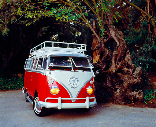 AUT 22 RK2093 01 © Kimball Stock 1964 Volkswagen 13 Window Deluxe Red And White 3/4 Front View By Trees