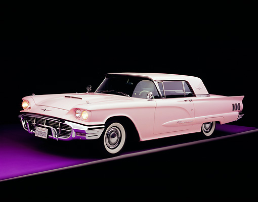 AUT 22 RK2122 06 © Kimball Stock 1960 Ford Thunderbird Pink Side 3/4 View On Purple Floor Gray Line Studio