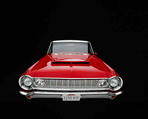 AUT 22 RK2187 03 © Kimball Stock 1964 Dodge Polara 500 Red And White Wide Angle Head On Shot Studio