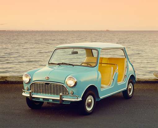 AUT 22 RK2274 04 © Kimball Stock 1960 Austin Mini Beach Aqua White Top 3/4 Front View On Pavement By Ocean