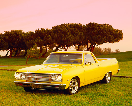 AUT 22 RK2284 06 © Kimball Stock 1965 Chevrolet, El Camino, Yellow 3/4 Front View On Grass