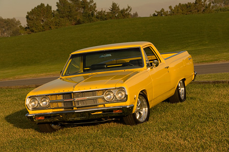 AUT 22 RK2306 01 © Kimball Stock 1965 Chevrolet, El Camino, Yellow 3/4 Front View On Grass