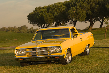 AUT 22 RK2308 01 © Kimball Stock 1965 Chevrolet, El Camino, Yellow 3/4 Front View On Grass