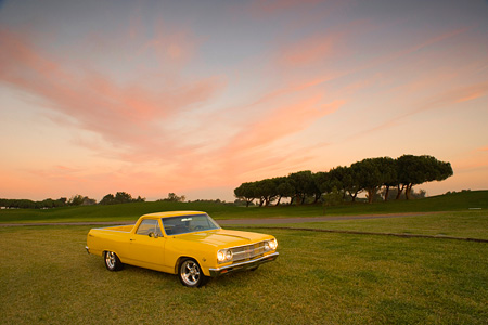 AUT 22 RK2310 01 © Kimball Stock 1965 Chevrolet, El Camino, Yellow Distant 3/4 Front View On Grass