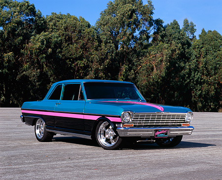 AUT 22 RK2319 03 © Kimball Stock 1964 Chevrolet Nova Teal Pink And Black 3/4 Front View On Pavement Blue Sky Trees